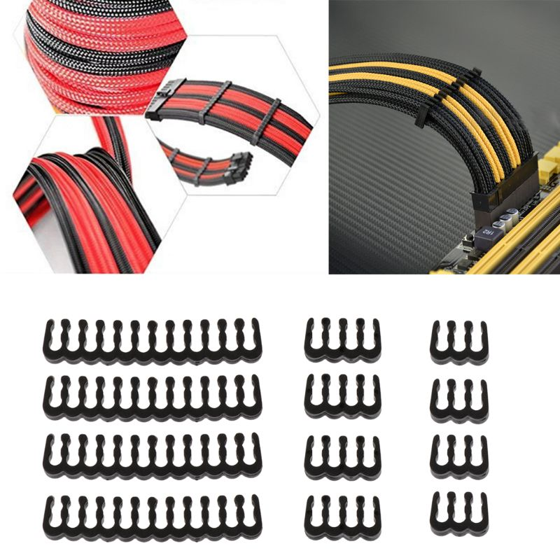 12Pcs Black PP <font><b>Cable</b></font> <font><b>Comb</b></font> /Clamp /Clip /Dresser For 2.5-3.0 mm <font><b>Cables</b></font> 6/<font><b>8</b></font>/24 <font><b>Pin</b></font> 3 types <font><b>comb</b></font> C26 image