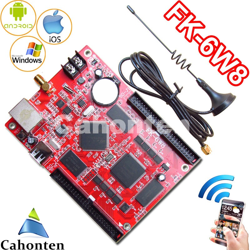 все цены на FK-6W8 wifi led control card network/USB PC/pad/Phone APP wireless full color p10,p13.33,p16,p4.75 display led controller board онлайн