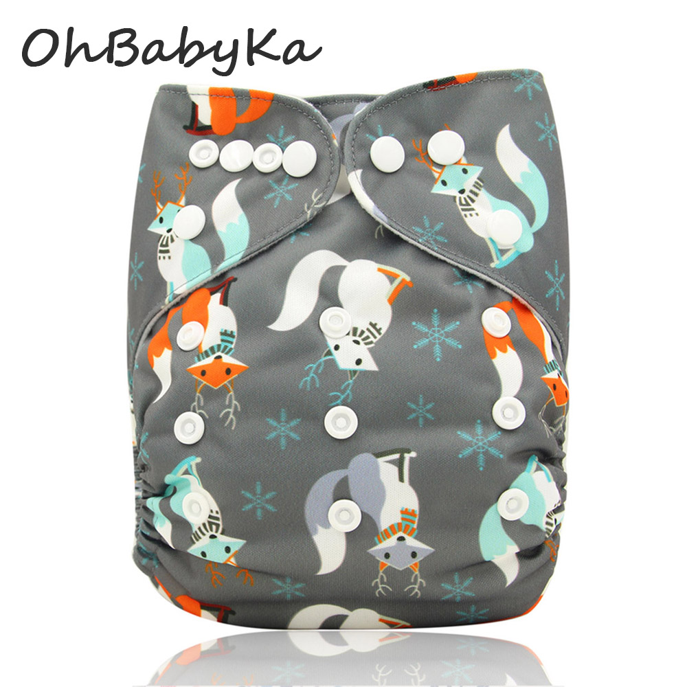Ohbabyka Washable Diapers Baby Nappies Character Print Adjustable Baby Care Pocket Cloth Diapers Reusable One Size Fit All