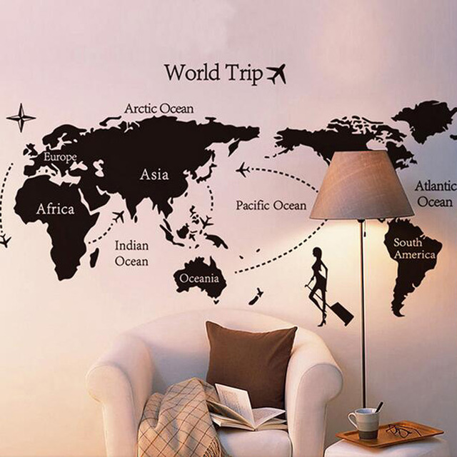 Hot Sell World Trip Wall Stickers Travel Map Living Room Wall Sticker Bedroom Wallpaper Home Decoration