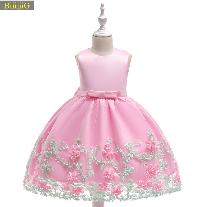 2018 Summer Baby Girl Dresses Sleeveless Applique Perform Prom Party Girls Dress Toddler Kids Clothing Floral Baby Evening Dress summer baby girl printed pattern straps dresses toddler girls baby clothing sleeveless baby dress kids casual clothes yp