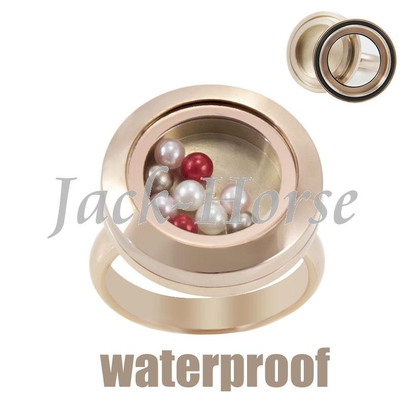 Nuevo Anillo de medallón flotante de acero inoxidable resistente al agua rosa de oro 20mm-in Anillos from Joyería y accesorios    1