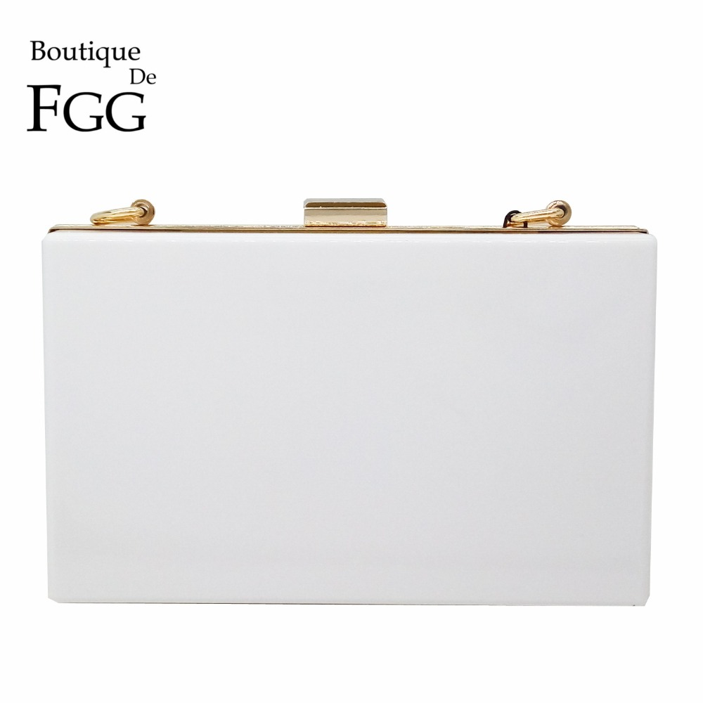 Women Brand Solid White Acrylic Box Clutch Mini Hardcase Metal Clutches Evening Shoulder Bag Transparent Party Dinner Handbag