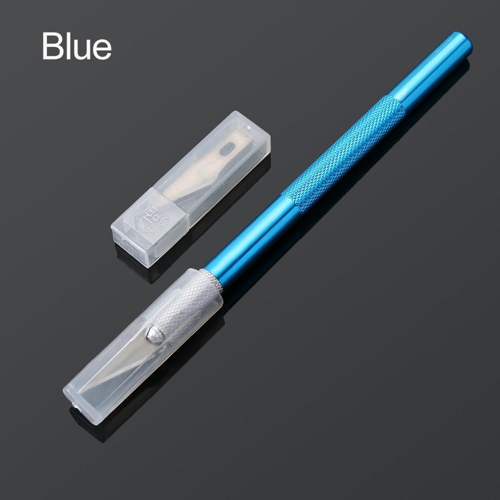 1 шт. художественный нож с крышкой нескользящий металлический нож для скальпеля набор инструментов Резак гравюра ножи канцелярский резак PCB набор инструментов - Цвет: Синий