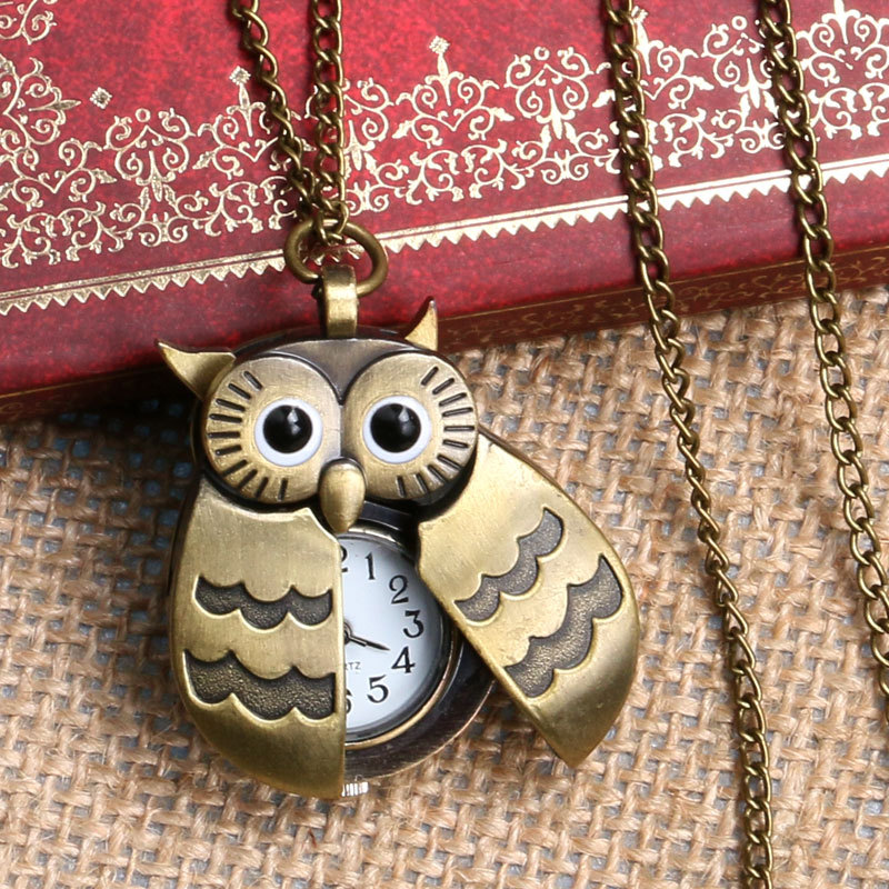 Lovely Owl Watch Nurse Fob Pocket Watches With Necklace Chain Relogio De Bolso P631