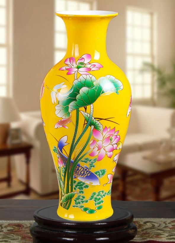 DELICATE CHINESE JINGDEZHEN YELLOW PORCELAIN HAND PAINTED LOTUS - Home Decor