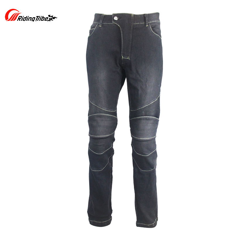 Mens Motorcycle protective pants Motocross Racing street riding protection jeans with knee protectors Black M-4XL