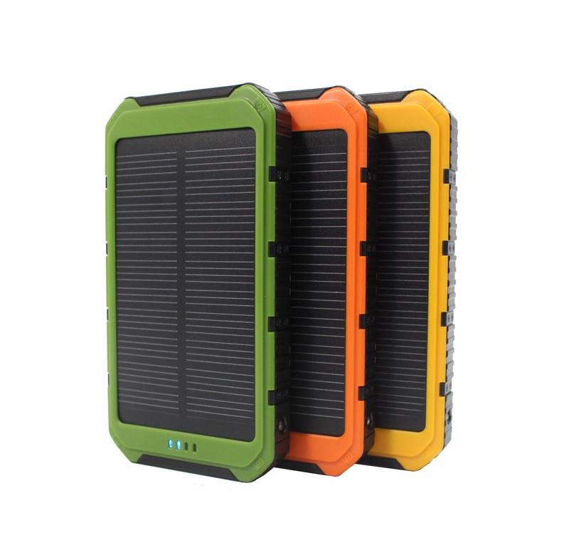 bilder für New Echt 10000 mAh Tragbare Solar-ladegerät Power Bank mit 6 LED-Panel Handy Stromlade Solar Camping Lichter