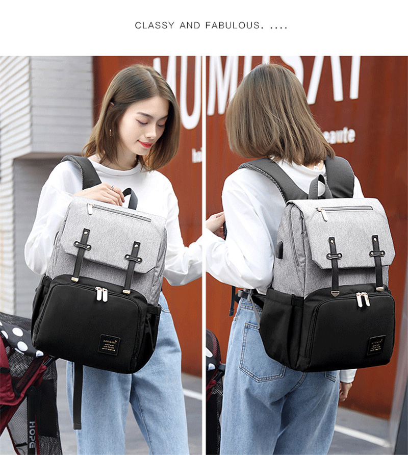 HTB1SGVWaPDuK1Rjy1zjq6zraFXaS New Fashion Women Backpack With USB Mummy Daddy Outdoor Travel Diaper Bags Pure Large Waterproof Nursing Bag Baby Care Nappy Bag