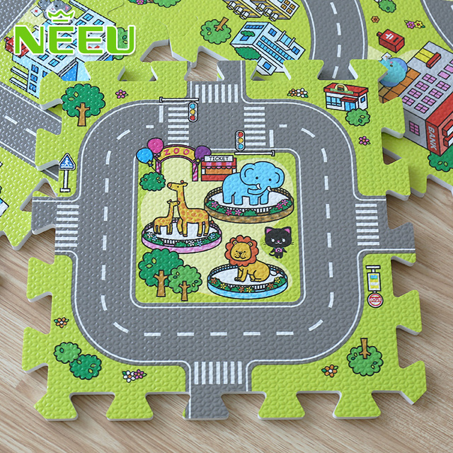 2016 New! 9pcs Baby EVA foam puzzle play floor mat,Education and interlocking tiles and traffic route ground pad (no edge)