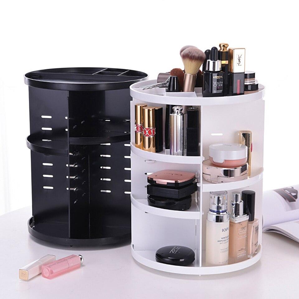 360 Degree Rotating Makeup Organizer Multifunction Jewelry Cosmetic Lipstick Brushes Make Up Organizer Plastic Storage Box