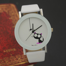 Humorous Cute Children Cat Vogue Watch Ladies 2016 Spider New Black White Pink Wristwatch Hour Woman Little one Woman Gown Causal Quartz Scorching