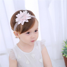 High Quality Dimensional Lace Flower  Embroidery Headband Korean Girls Hairband Hair Accessories Shiny Band Scrunchy