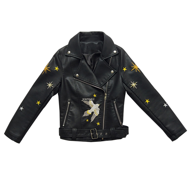 New fashion heavy work embroidered   leather   jackets women's spring autumn belt PU   leather   jacket locomotive   leather   jacket wq2010