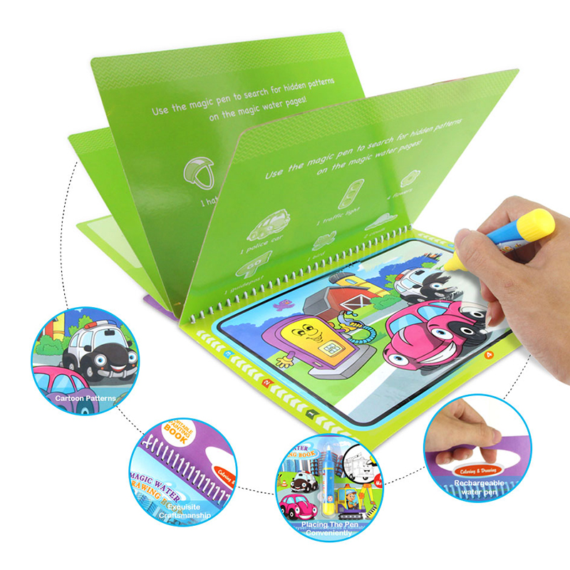 Portable Magic Water Drawing Book Reusable Coloring Book Doodle Magic Pen Cartoon Painting Toys Drawing Board For Kids Education
