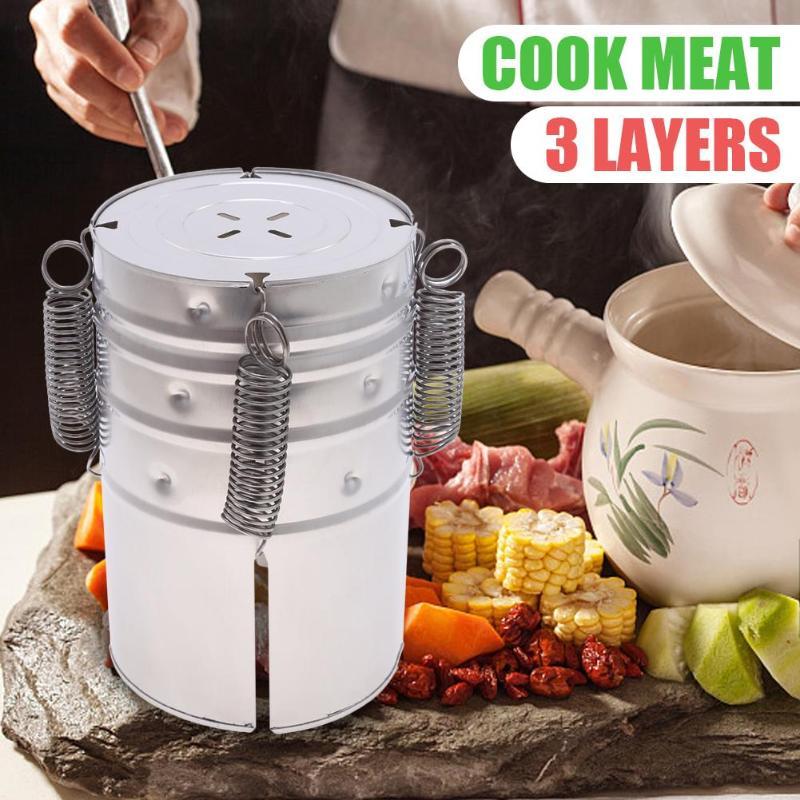 Машина для приготовления гамбургеров, 3 слоя, нержавеющая сталь, морепродукты, мясо, кухня, инструменты для приготовления пищи, Прямая поставка 2020 Наборы посуды    АлиЭкспресс