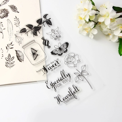New DIY Photo Album Diary Card Handbag Rubber Slip Finished Seal Floral Butterfly Transparent Seal Stamp scrapbook diy photo album card hand account rubber seal product seal transparent seal stamp cat