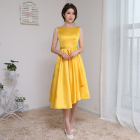 Yellow Scoop Sexy Simple Satin High Front And Low Back New Prom Dresses 2017 Vestido De