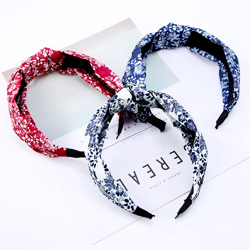 New Wide Edge Cloth Fabric Hairbands Classic Floral Stripe Bowtie Headbands Acrylic Headhoop Fashion Hair Accessories for Women