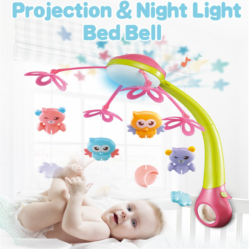 Baby Musical Bed Bell Baby Toys Kids Projection Crib Mobile Cute Cartoon Animal Newbron Rattles Infant Education Early Learning