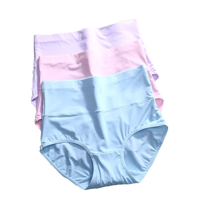 Buy LANGSHA 3Pcs/lot High Waist Ultra-thin Panties Women Seamless Sexy Lingerie Ice Silk Underwear Slimming Panties Traceless Briefs