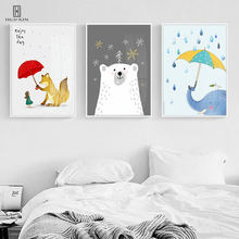 Creative Animal Cartoon Poster White Bear Fox Elephant Hold Umbrella Girl Unframed HD Decorative Paintings For Home Decor