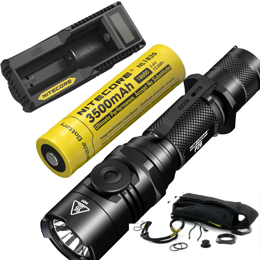 NITECORE P26 1000LM LED Infinitely Variable Brightness Tactical Flashlight Rotary Swith Hunting Torch with Battery and charger nitecore ec22 with 18650 rechargeable battery infinitely variable brightness led flashlight waterproof outdoor camp hiking torch