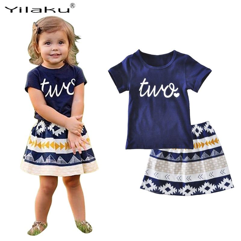 Yilaku Girls Clothes Sets Kids Clothing 2pcs T-shirt and Skirt Set Baby Girl Outfit 2017 Summer Toddler Girl Clothing CF512
