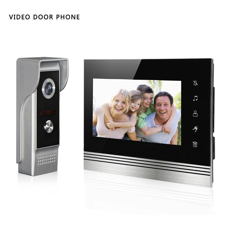 Video Doorphone Intercom System 7 inch High Definition Color Screen and Infrared Night Vision Camera mobile and high definition video streams
