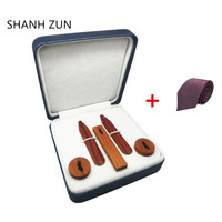 SHANH ZUN Fashion Wood Collar Stays & Cufflinks & Tie Bar with Beard Texture Holiday Gift Set for Mens Dress Shirt