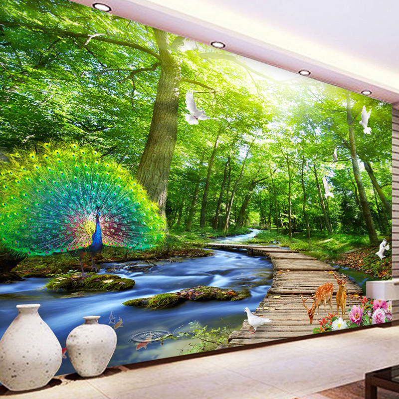 Customized 3D forest peacock photomural wallpaper