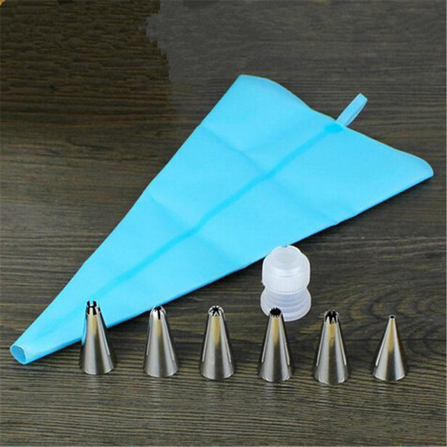 Cake Tools 1x Length Silicone Icing Piping Cream Pastry Bag + 6x Stainless Steel Nozzle Set Cake Decorating Baking Pastry Tools