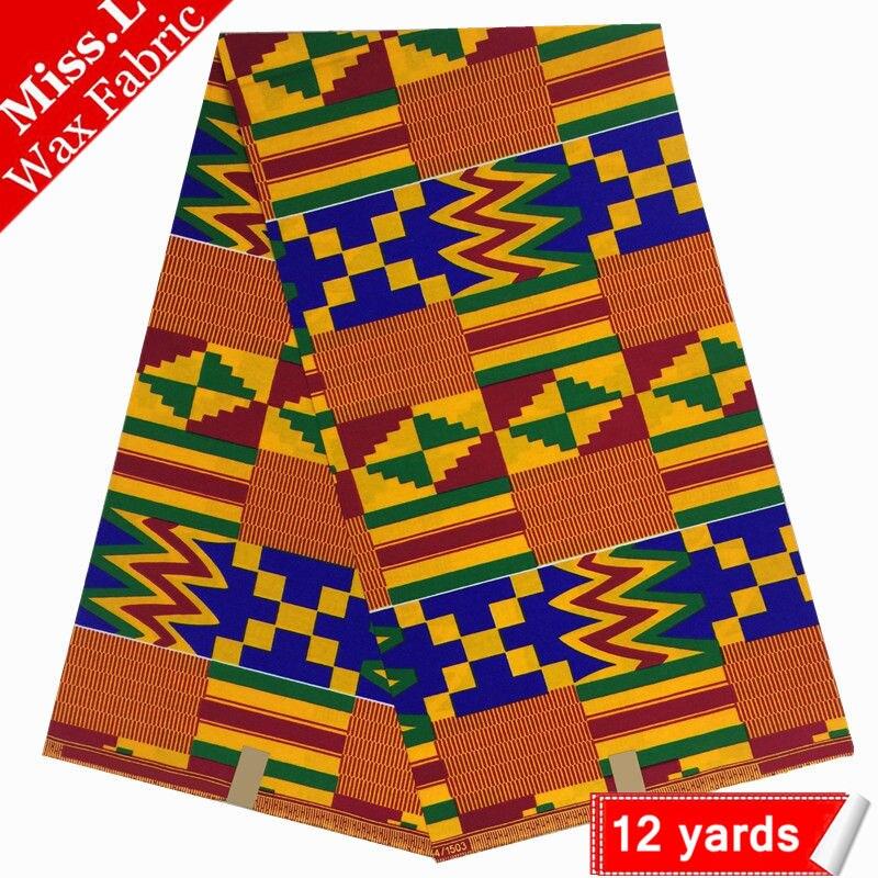 Hot sale! Kente wax fabric real super wax hollandais,100% cotton african wax prints fabric 12 yards dutch wax Nigerian style