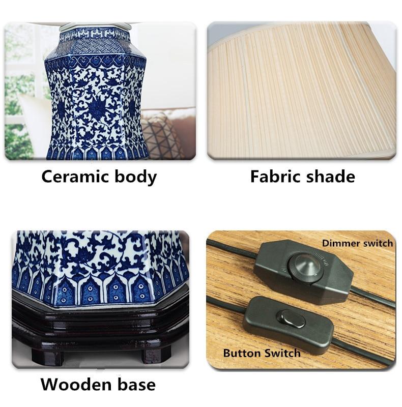 Винтажный стиль фарфоровые керамические настольные лампы для прикроватной тумбочки китайский синий и белый фарфор синий фарфор настольная лампа - 6