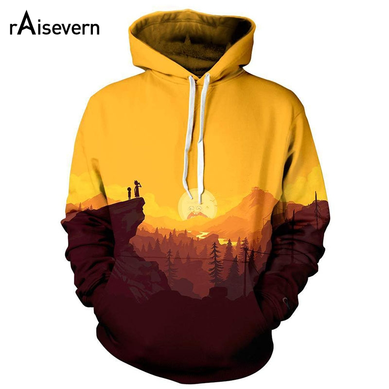 Raisevern Rick And Morty Mountains Hoodie Men Women Long Sleeve Autumn Sportswear Tracksuit All Over Print 3d Hooded Sweatshirts