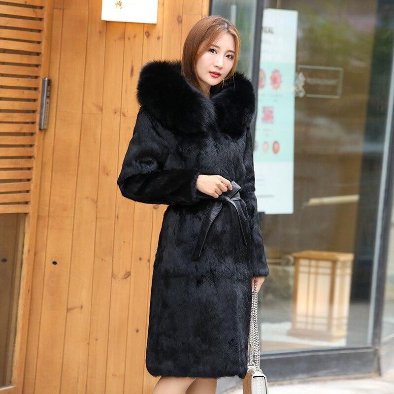 Big Size Real Fur Coat Long Plus Size Natural Rabbit Fur Hoodies Real Fox Fur Coat