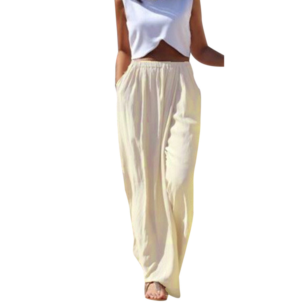 1PC   Pant   Summer Sexy Waist   Wide     Leg     Pants   Casual Solid Women Casual Summer Long Loose Full Length Pantshot sale c0404