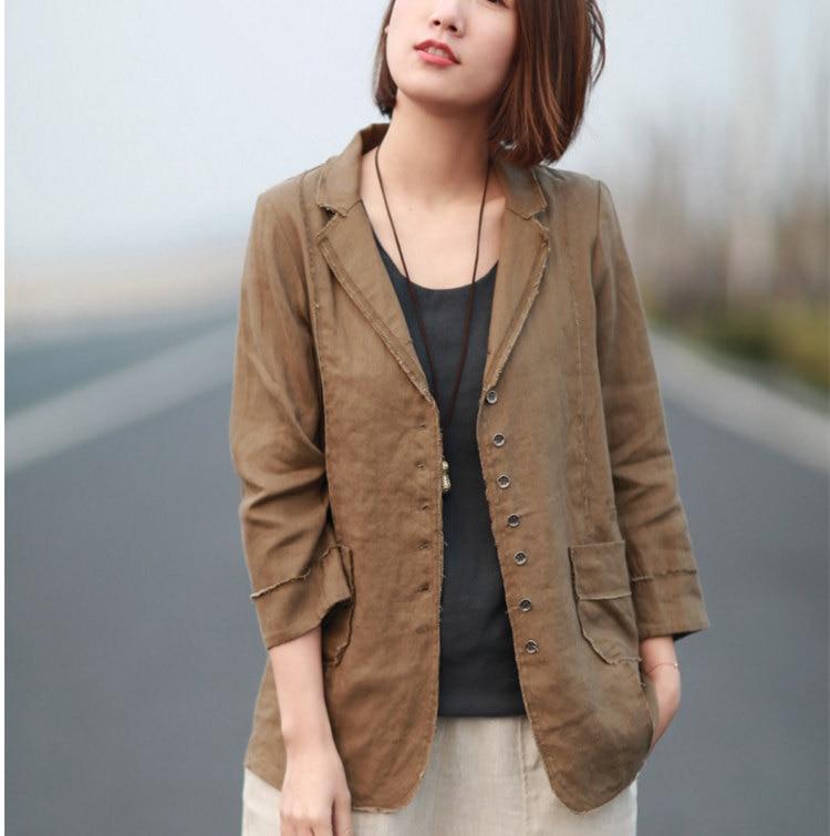 Preppy Style Womens Cotton Linen Blazer Mujer Black Khaki 2019 Spring Summer Women Casual Suit Jacket Female Blazers