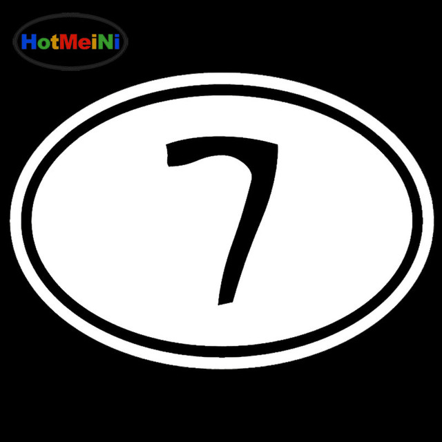 Hotmeini Lucky Number 7 Euro Sign Lettering Art Car Sticker For