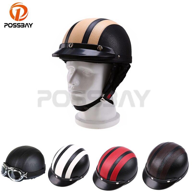 POSSBAY 6 7/8 '' 7 '' Sintetinės odos motociklų šalmai Pusinės veido šalmas skirtas