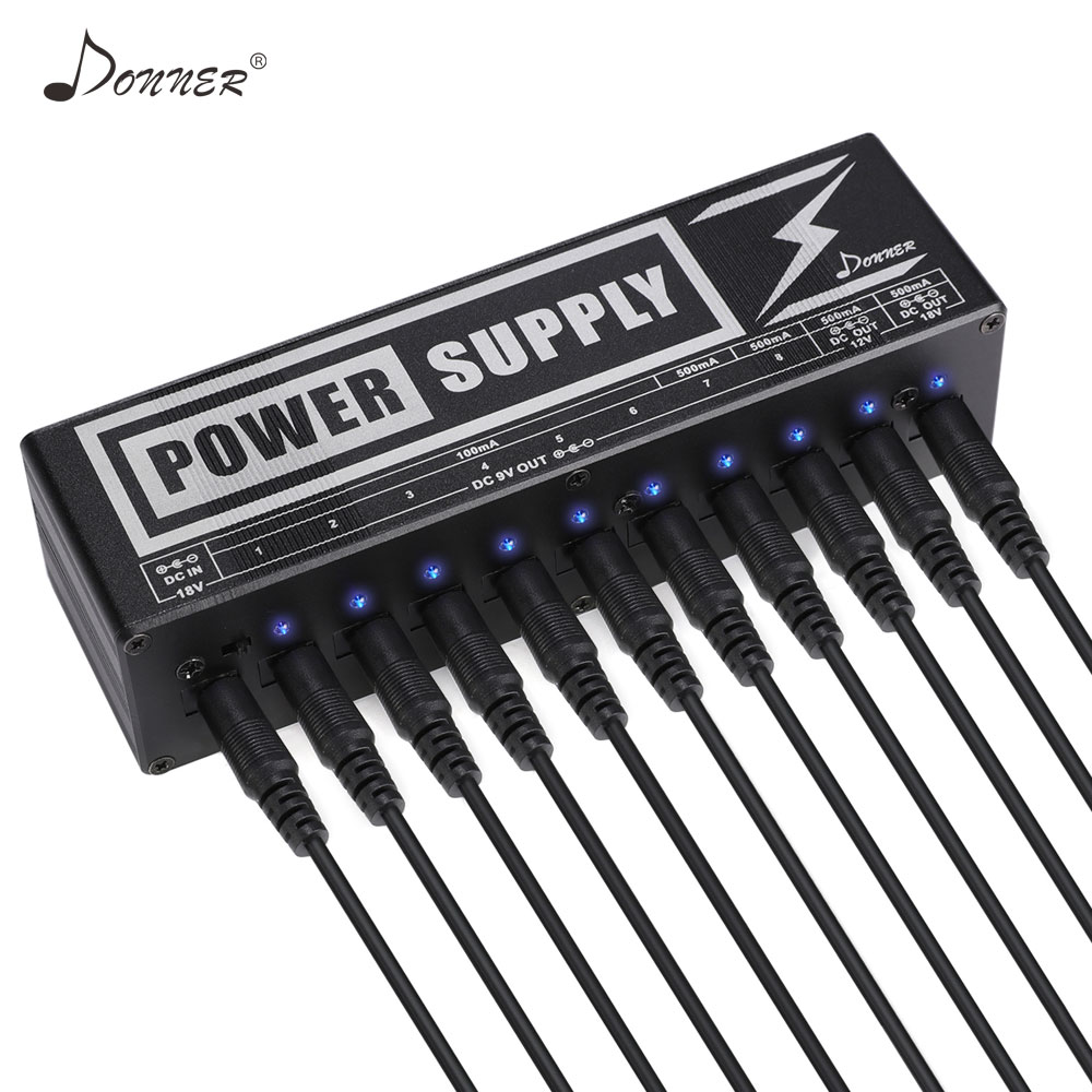 Donner DP 2 Guitar Effect Pedals Board Power Supply 10 DC Isolated Outputs For 9V/12V/18V Guitar Accessories Voltage Protection