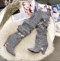 Women Luxury Bling Boots Niki Slouch Crystal Embellished Leather Knee Booties Covered Cone Heels Diamonds Pointed Toe Botas
