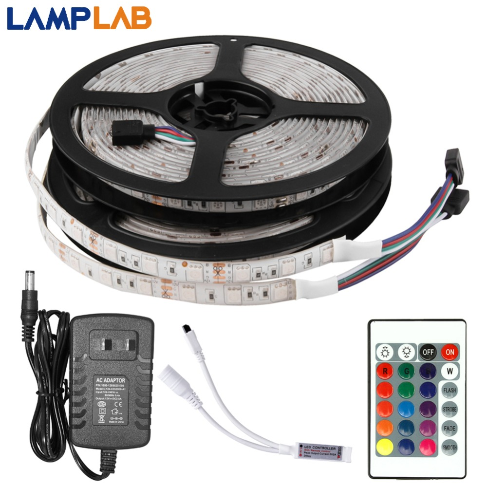 DC 12V LED Strip Light Flexible Diode Ribbon Tape RGB SMD 2835 5050 44Key Power Remote 5M 10M 15M Full Set Waterproof Lighting