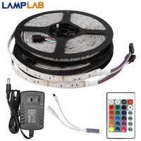 DC 12V LED de luz de tira Flexible de cinta RGB SMD 2835 de 5050 44Key remoto de alimentación 5M 10M 15M juego completo de iluminación impermeable