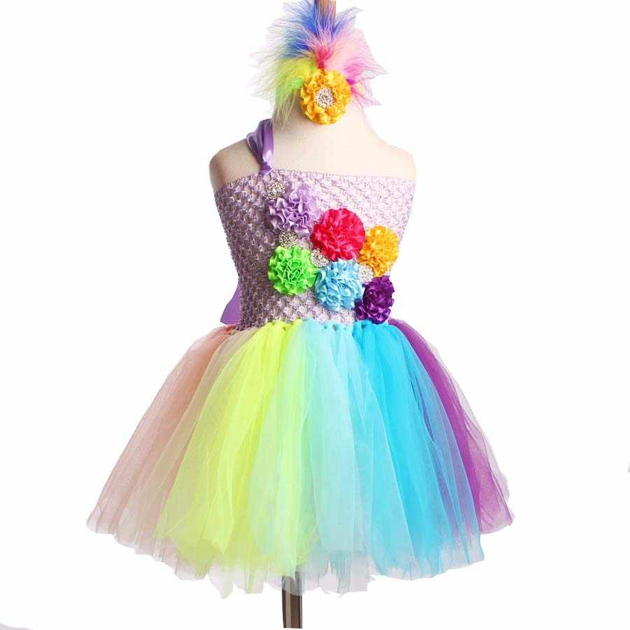 Vestido tutú Arco Iris completo Crochet bebé tul vestido con diadema 1 er cumpleaños vestido recién nacido foto Props caramelo tierra tutú TS092