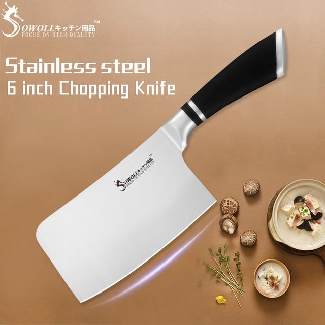 Facas de Cozinha Em Aço Inoxidável faca de Cortar 6 SOWOLL Polegada Utilitário Faca Talheres Santoku Facas de Cortar Pão Acessório de Cozinha