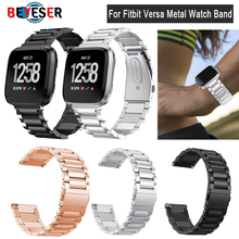 2018 Metal Strap For Fitbit Versa band strap Screwless Stainless Steel Bracelet Wristbands Replace Accessories