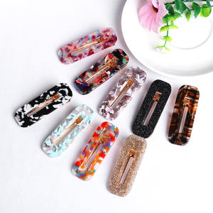 1 pc Geometric Rectangle Hair Clips Hairpins for Women Acetate Bright Powder Polka