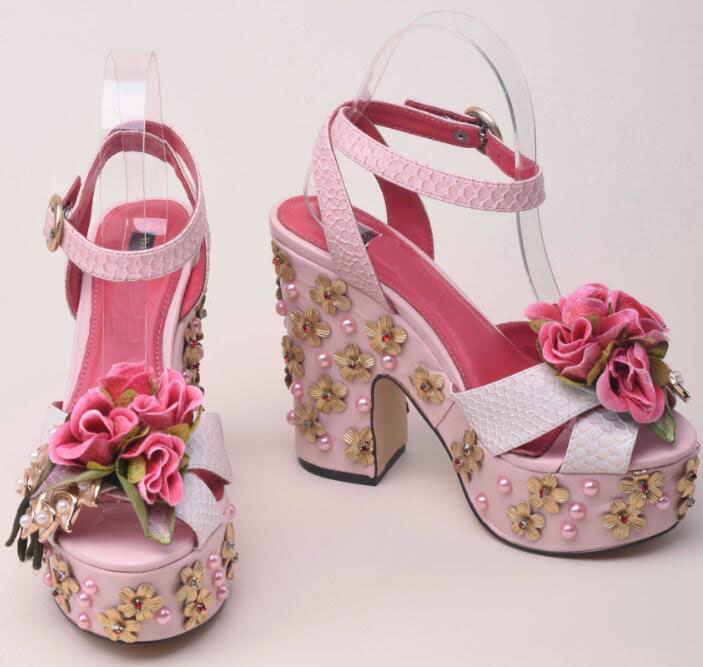 Moraima Snc Beautiful Flower Decorations Platform Shoes Woman Peep Toe Thick Heels Woman Ankle Strap Sandals Party Dress Heels Moraima Snc Beautiful Flower Decorations Platform Shoes Woman Peep Toe Thick Heels Woman Ankle Strap Sandals Party Dress Heels