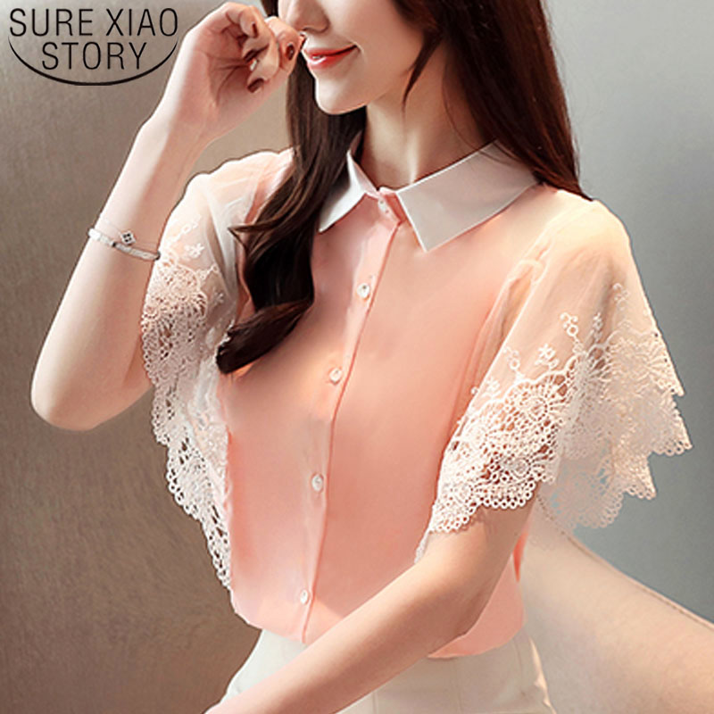 Women tops and   blouse   blusas mujer de moda 2019 ladies tops chiffon   blouse     shirt   lace   shirts   women   shirts   Sleeveless 4365 50